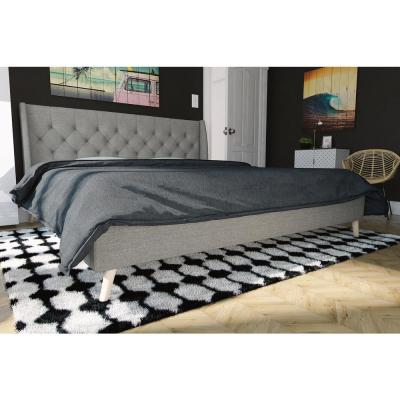 Her Majesty Gray Linen King Bed Frame