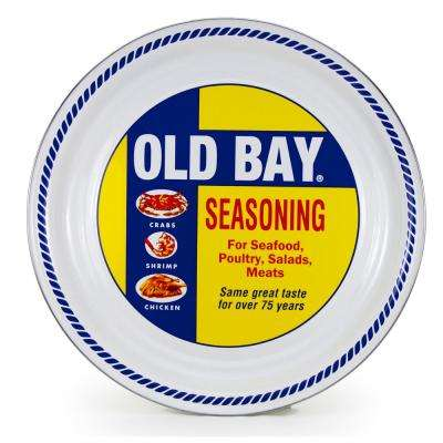 20 in. Old Bay Enameled Steel Round Serving Tray
