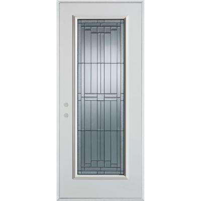 33.375 in. x 82.375 in. Architectural Full Lite Painted White Steel Prehung Front Door