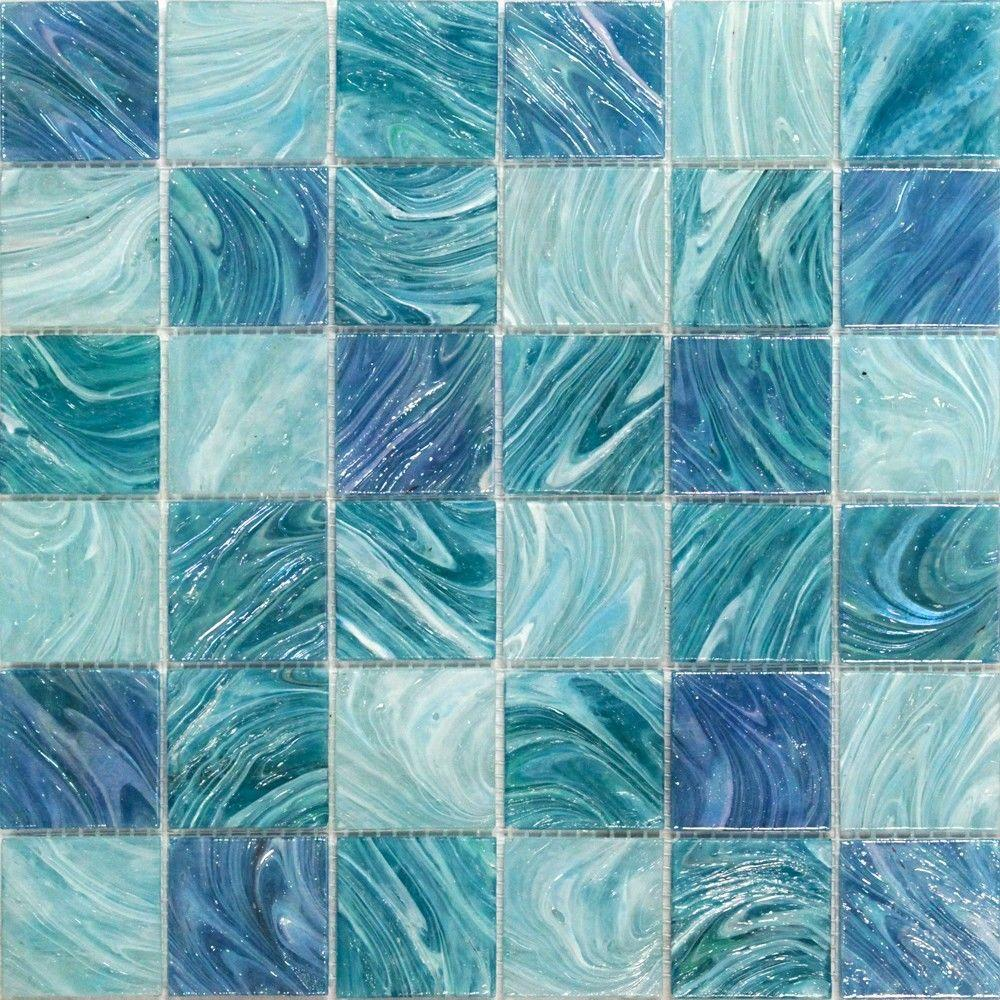 Marvelous Aqua Blue Sky Mesh Mounted Squares Glass Floor And Wall Tile   3 In. X 6  In. Tile Sample