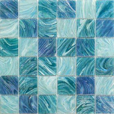 Aqua Blue Sky Mesh-Mounted Squares Glass Floor and Wall Tile - 3 in. x 6 in. Tile Sample