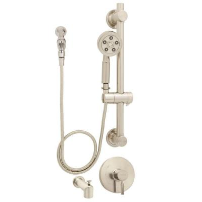 Neo Anystream 3-Spray ADA Handheld Shower and Tub Combination with Grab/Slide Bar in Brushed Nickel (Valve Included)