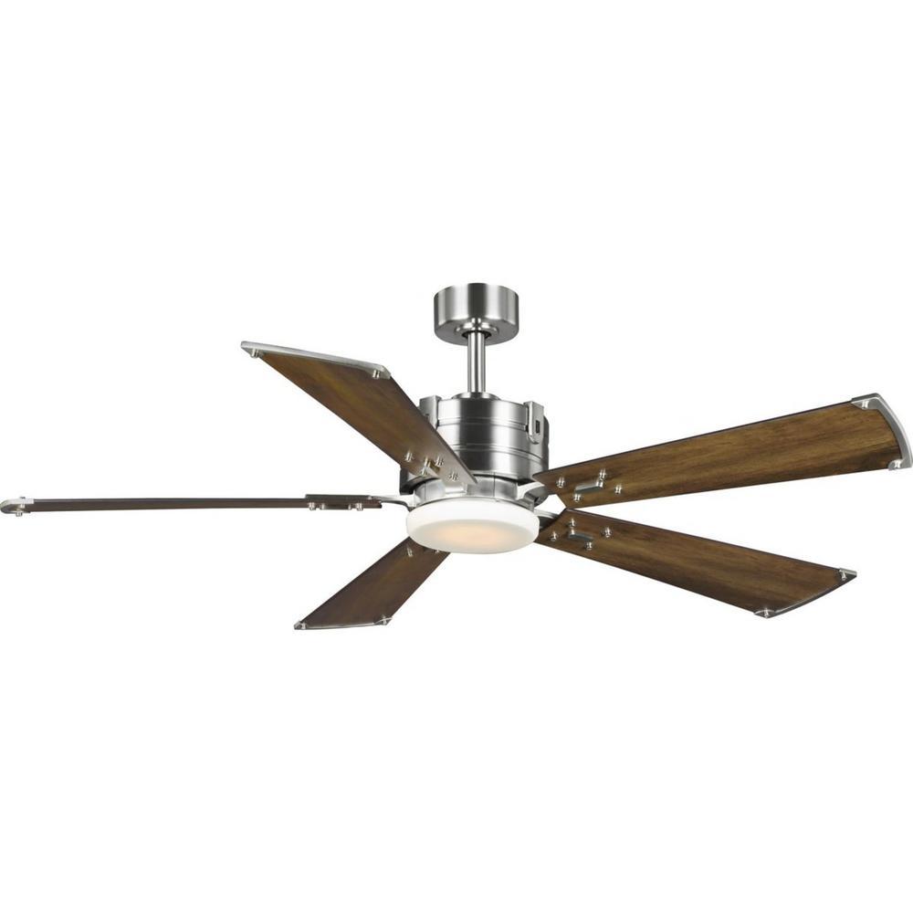 Progress Lighting Glenfalls 56 in. 5-Blade LED Reversible Silver/Chestnut AC Motor Transitional Ceiling Fan with Light