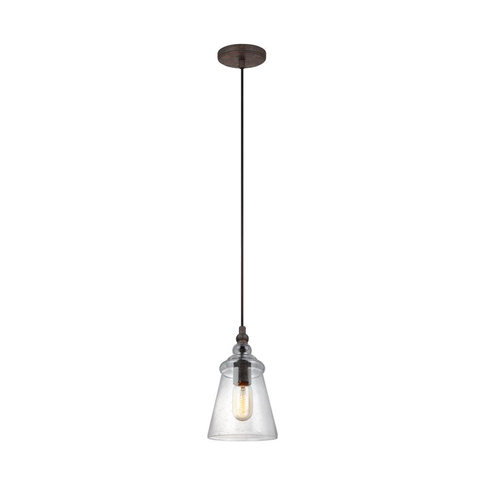 Loras 1-Light Dark Weathered Iron Mini-Pendant