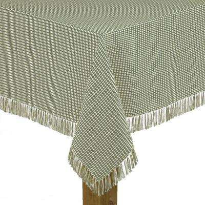 Homespun Fringed 60 in. x 120 in. Sage 100% Cotton Tablecloth