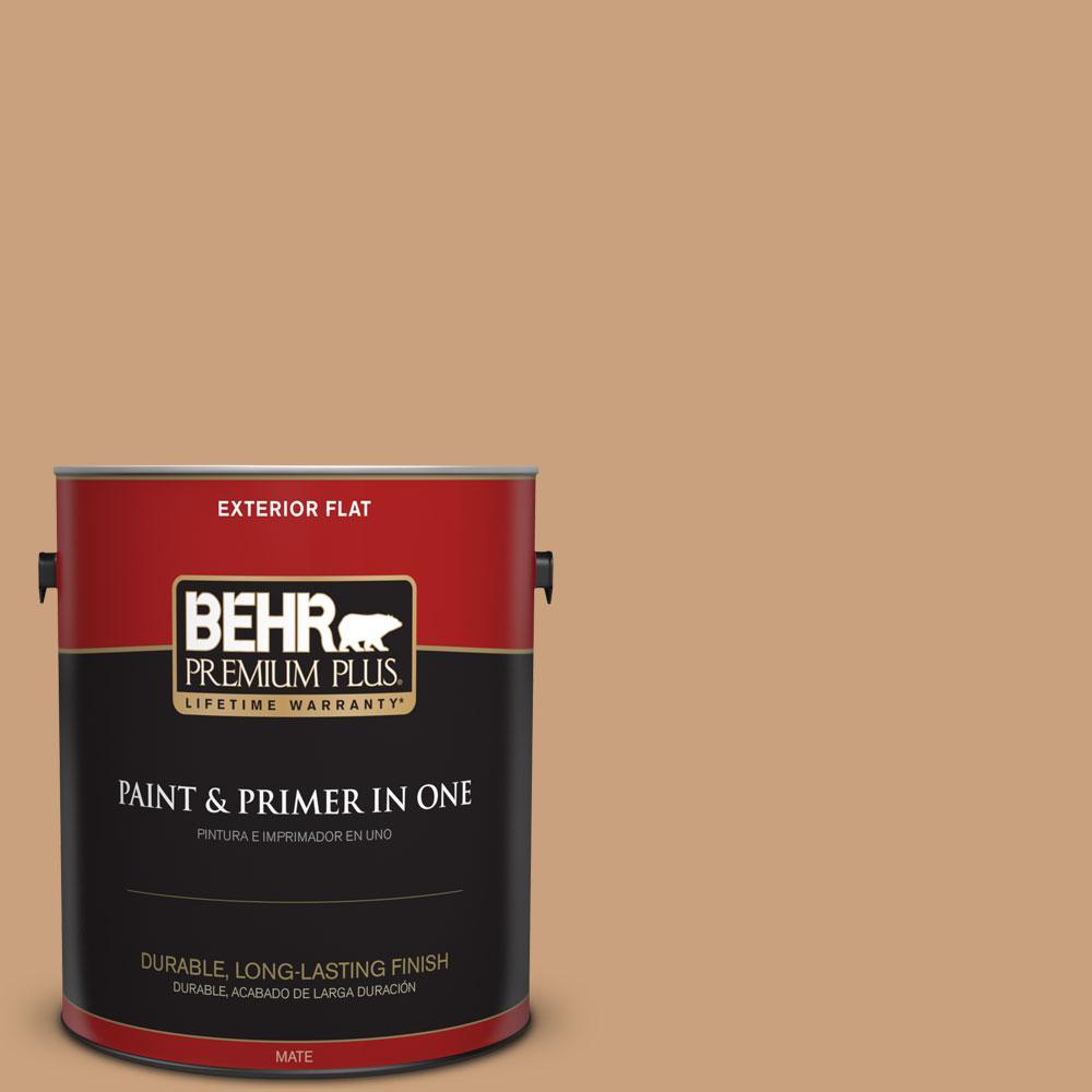 BEHR Premium Plus 1-gal. #270F-4 Peanut Butter Flat Exterior Paint