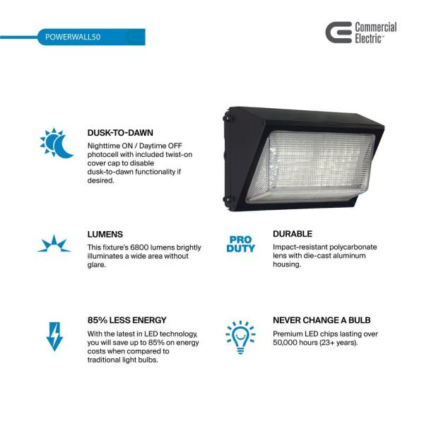 Commercial Electric 450 Watt Equivalent Integrated Outdoor Led Wall Pack 6800 Lumens Dusk To Dawn Outdoor Security Light 2 Pack Pwrw50 Pc 4k Bz 2pk The Home Depot