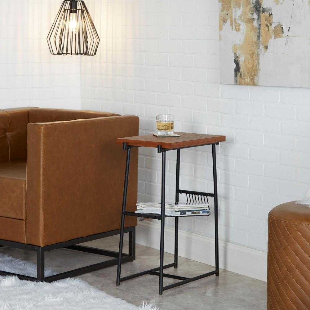 Alden Black and Walnut Industrial Accent Table with Wire Magazine Rack