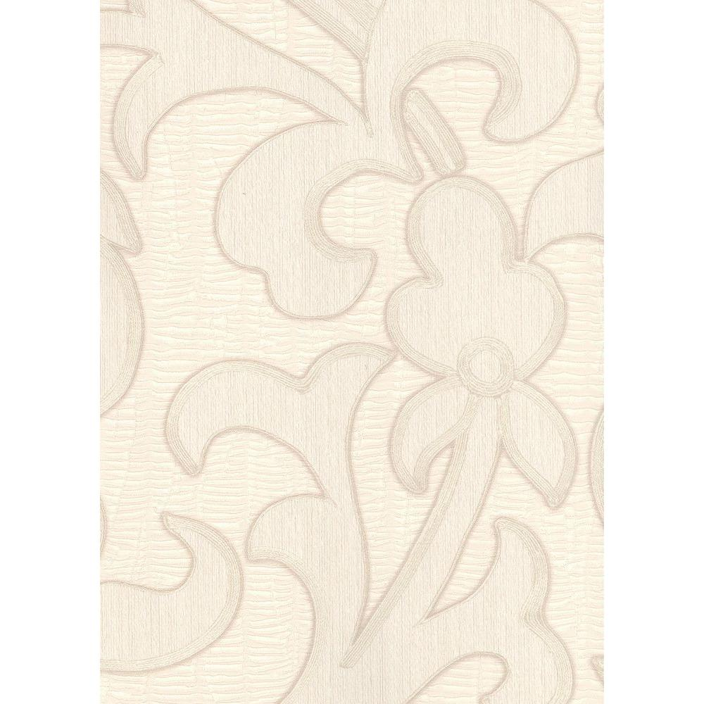null 56 sq. ft. Contemporary Flower on a Pleated Texture Background Wallpaper in Antique White