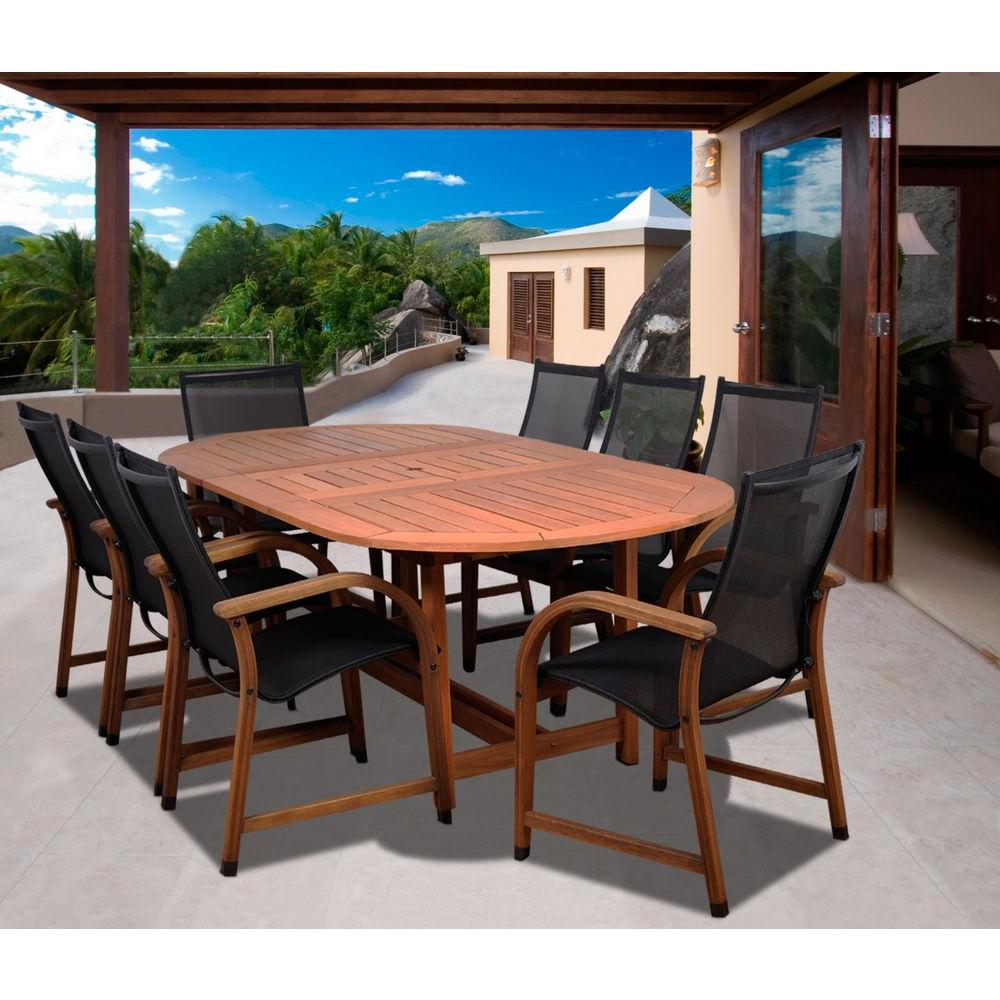 Amazonia Bahamas Oval 9-Piece Eucalyptus Patio Dining Set