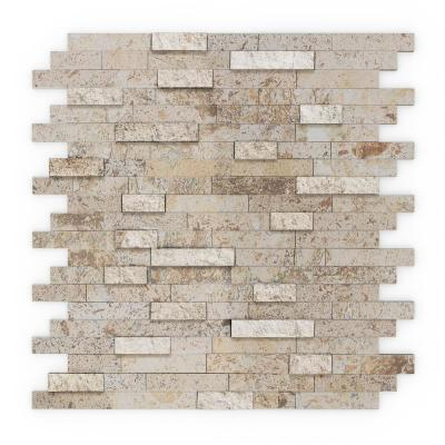 Sandy Mixed Tan 4 in. x 4 in. Stone Peel and Stick Wall Mosaic Tile Sample (0.11 sq. ft. / Each)