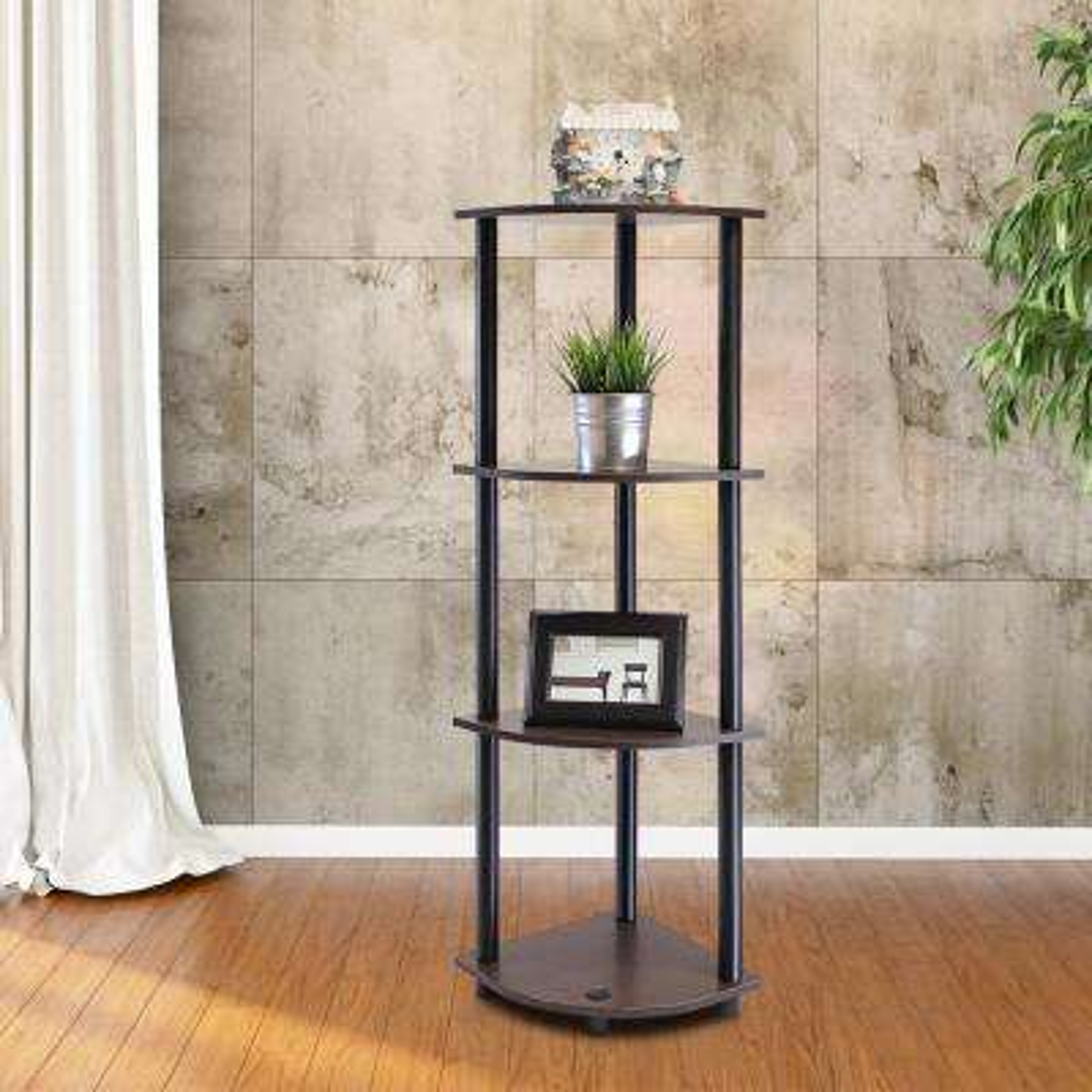 Turn-N-Tube Dark Brown 4-Shelf Corner Open Shelf
