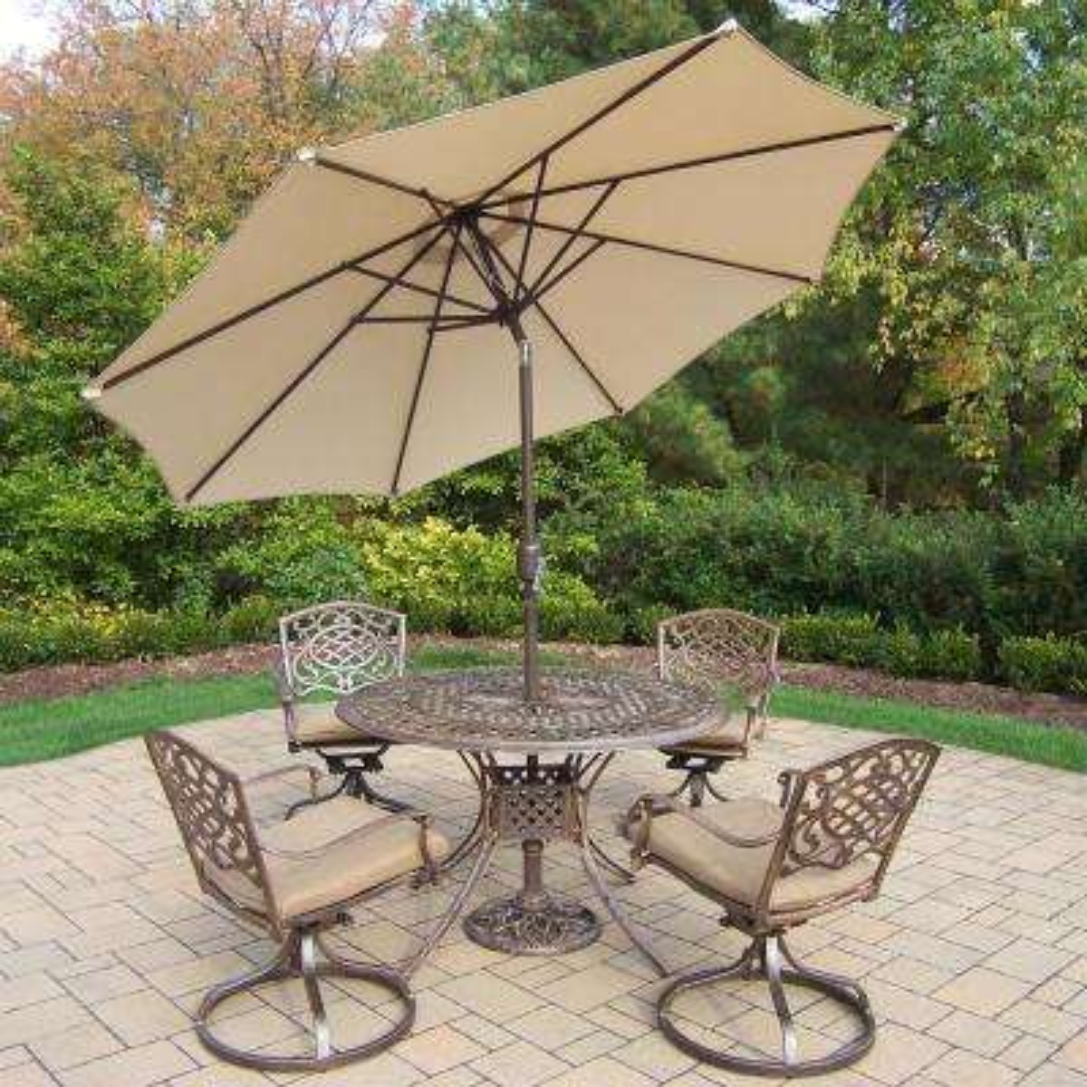 7-Piece Aluminum Outdoor Dining Set with Sunbrella Brown Cushions and Beige Umbrella