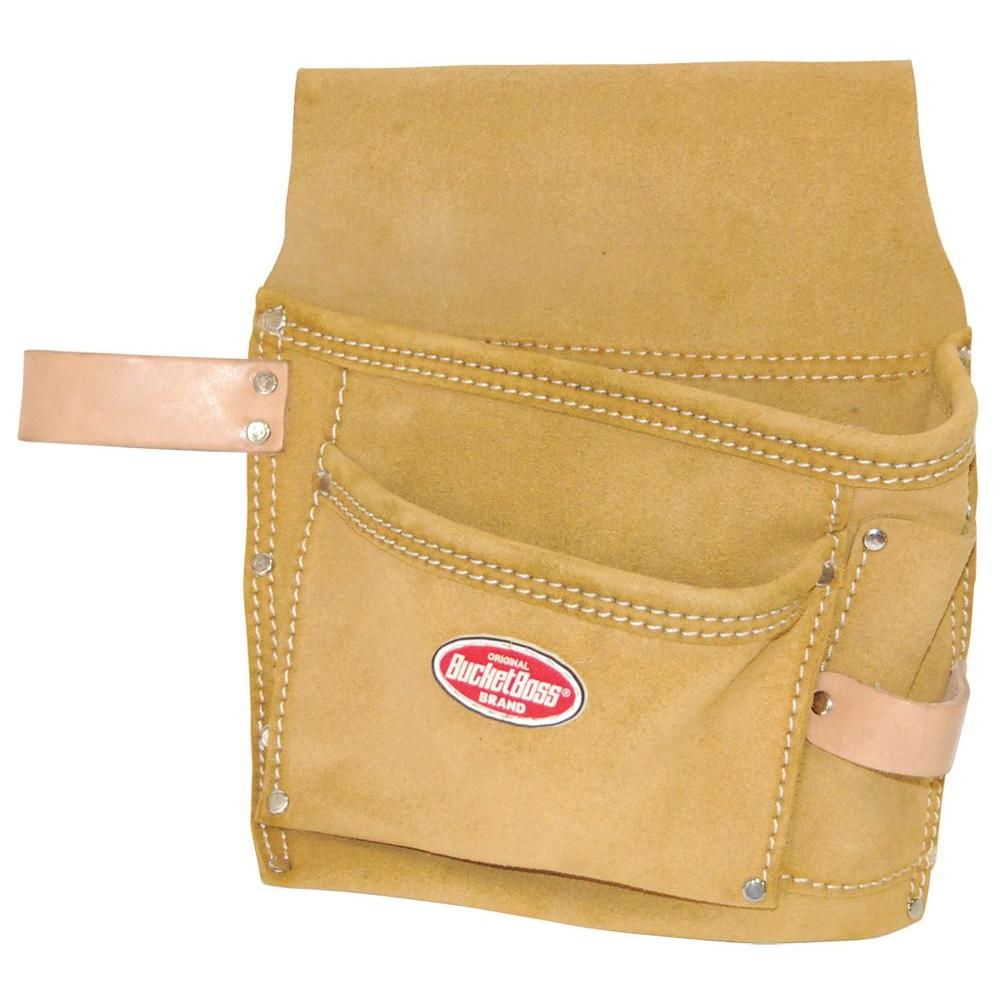 12 in. Suede 3-Pocket Nail and Tool Bag with Web Belt