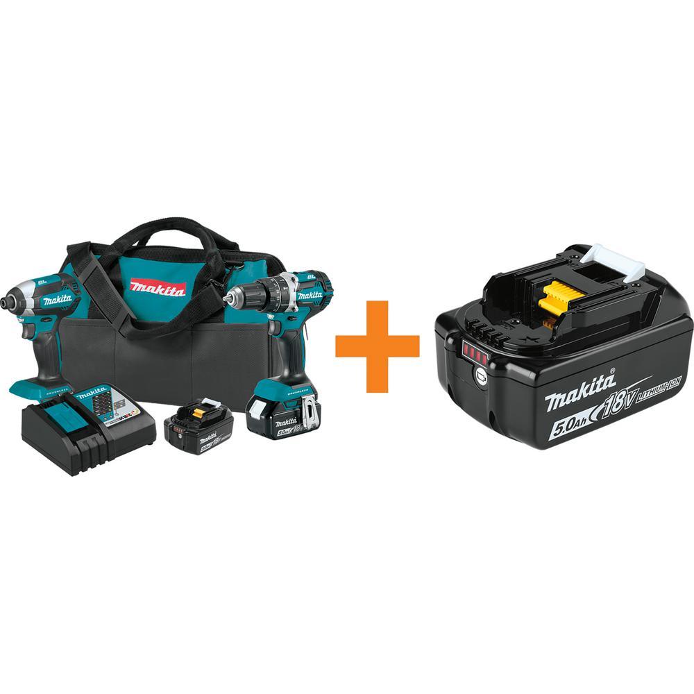 18-Volt LXT Brushless 2-Piece Combo Kit 5.0 Ah with bonus 18-Volt LXT High Capacity Battery Pack 5.0 Ah with Fuel Gauge
