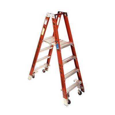 4 ft. Fiberglass Platform Step Ladder with Casters 300 lb. Load Capacity Type IA Duty Rating