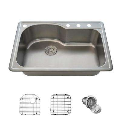 All-in-One Drop-in Stainless Steel 33 in. Single Bowl Kitchen Sink