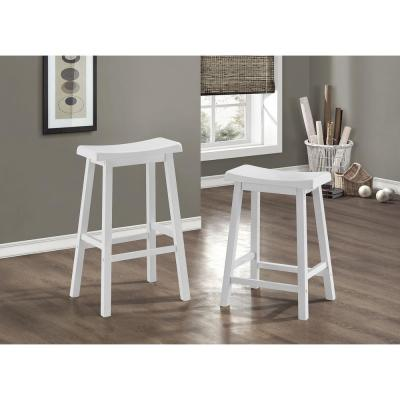 Saddle Seat 24 in. White Bar Stool (Set of 2)