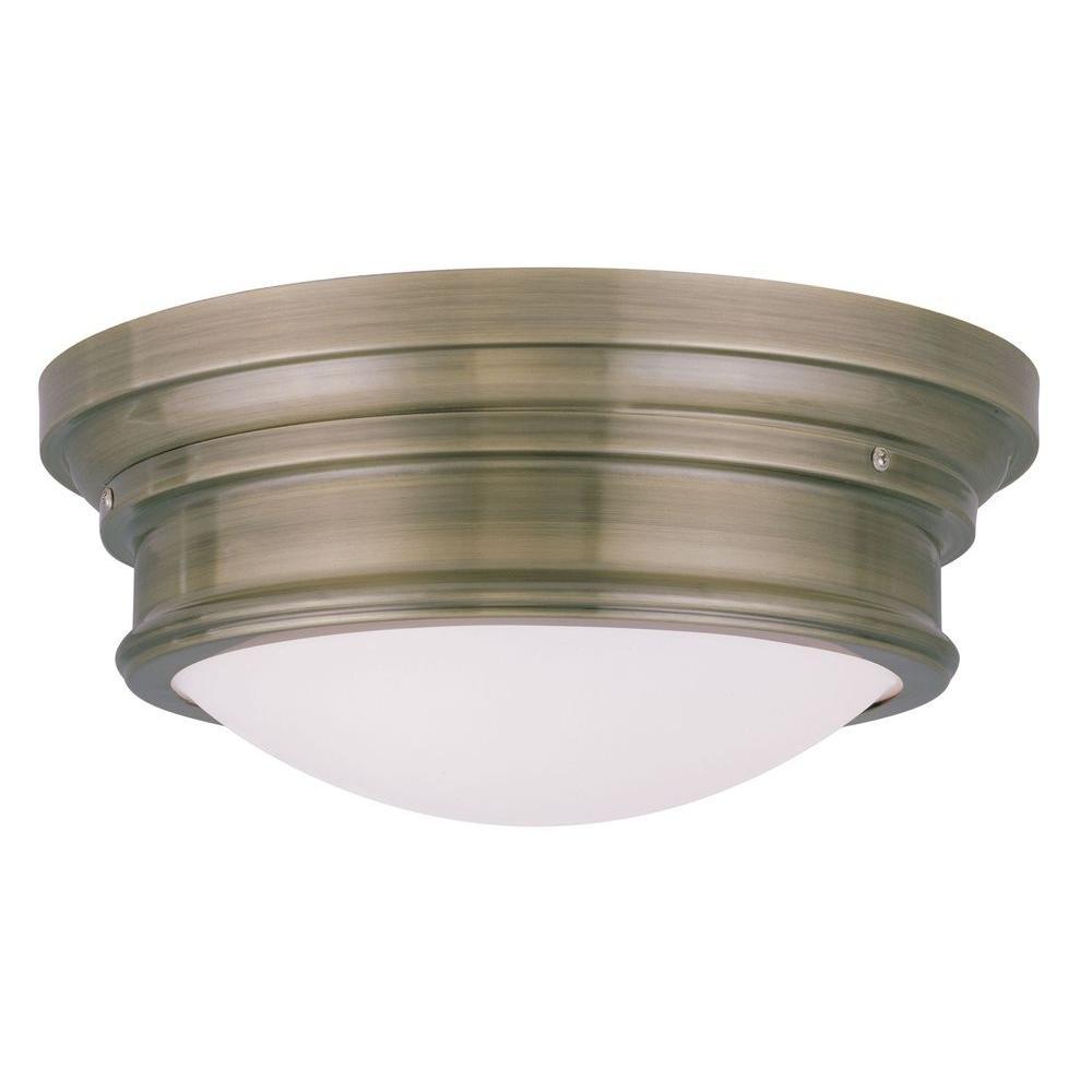 Providence 3-Light Antique Brass Incandescent Ceiling Flush Mount