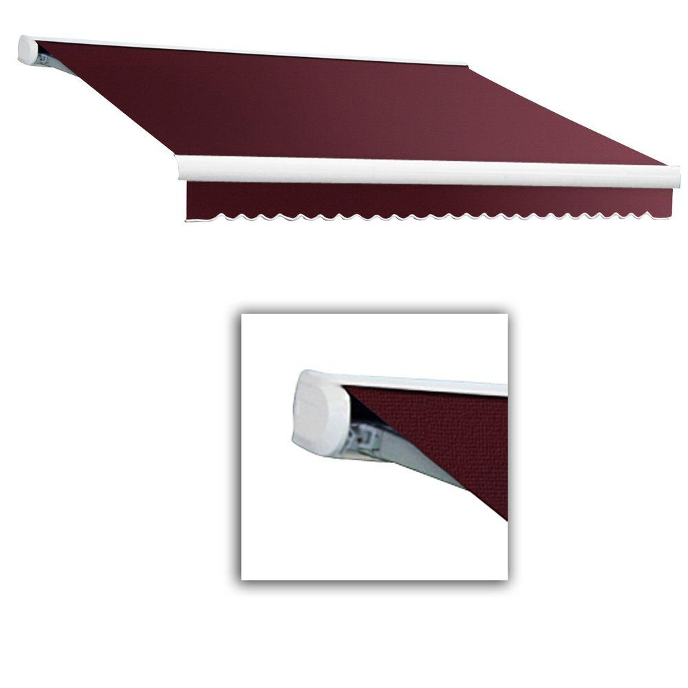 AWNTECH 10 ft. Key West Full-Cassette Left Motor with Remote Retractable Awning (96 in. Projection) in Burgundy