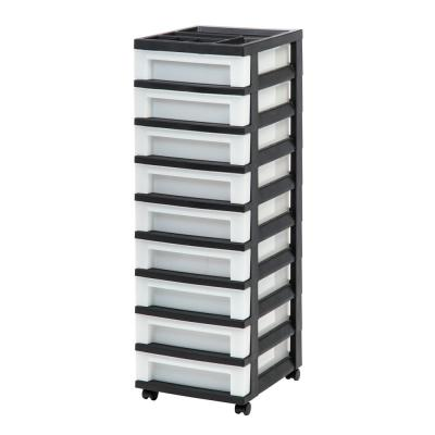 14.25 in. L x 12.05 in. W x 37.75 in. H 9-Drawer Storage Cart with Organizer Top in Black and Pearl