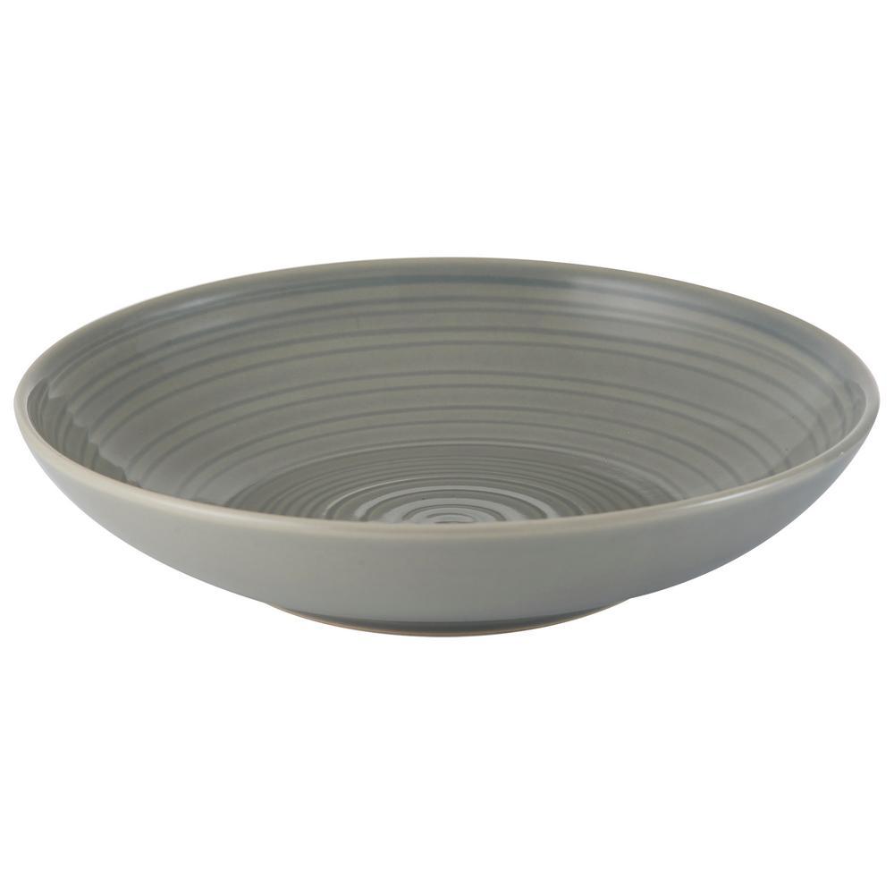 William Mason 9.1 in. 4-Piece Ceramic Grey Pasta Bowl Set
