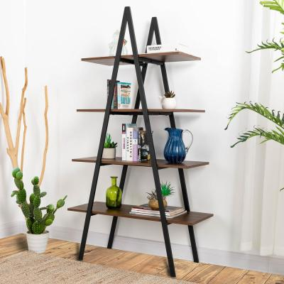 64.57 in. H Multi-Colored 4-Tier Metal Wooden Bookcases and Ladder Shelves
