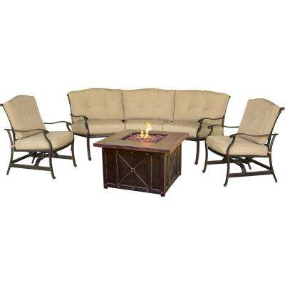Concord 4-Piece All-Weather Patio Conversation Set and 40 in. Durastone Fire Pit with Tan Cushions