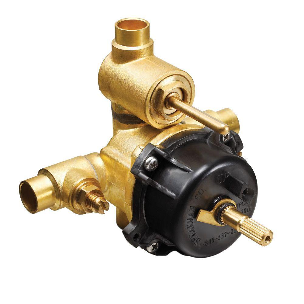 1/2 in. x 1/2 in. Brass Sweat Pressure Balance Shower Valve with Diverter