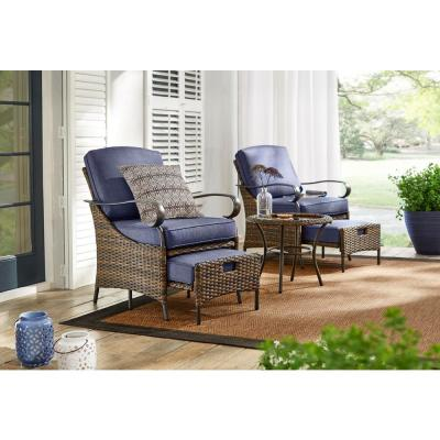 Layton Pointe 5-Piece Brown Wicker Outdoor Patio Conversation Seating Set with Standard Sky Blue Cushions