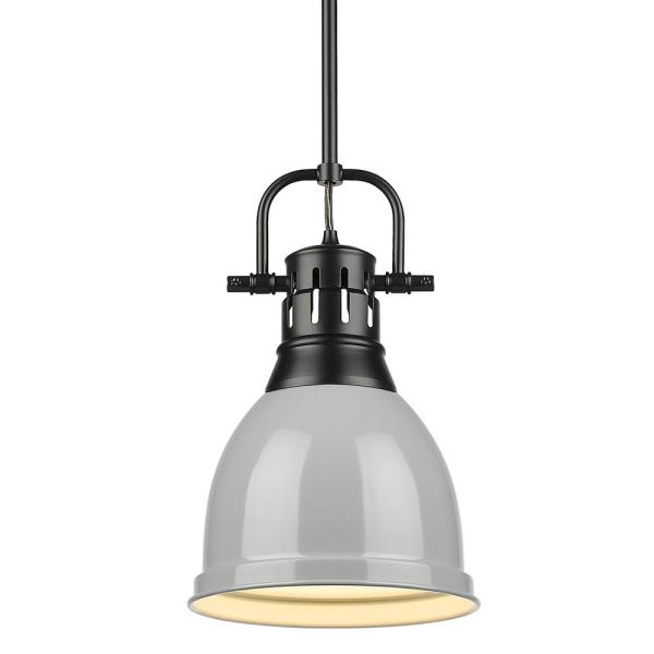 Duncan 1-Light Black Pendant and Rod with Gray Shade