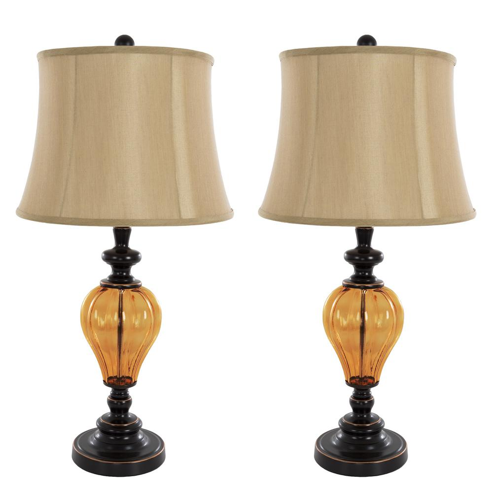 29.5 in. Amber Glass Lamp Set (2-Piece)