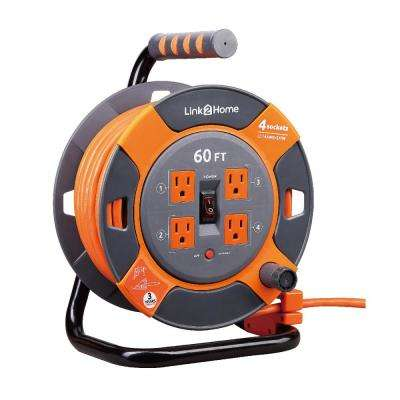60 ft. 14/3 Extension Cord Storage Reel with 4 Grounded Outlets and Surge Protector