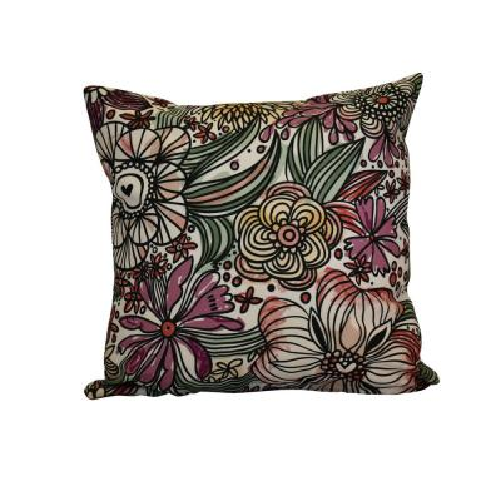 Zentangle Floral, Floral Print Throw Pillow, Purple