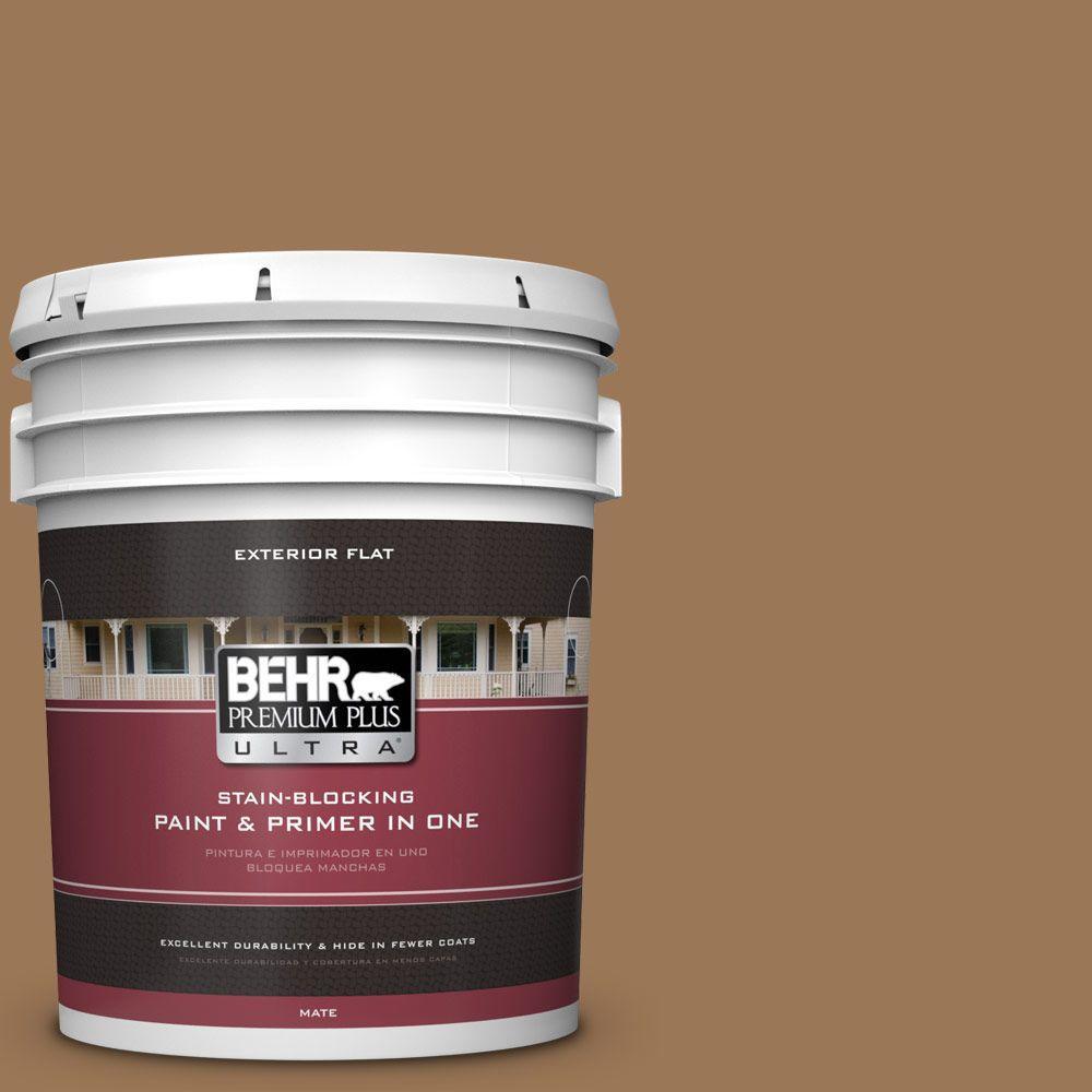 BEHR Premium Plus Ultra 5-gal. #PPU4-2 Coco Rum Flat Exterior Paint