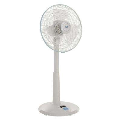 14 in. 3-Speed Adjustable-Height Oscillating Pedestal Fan with Remote