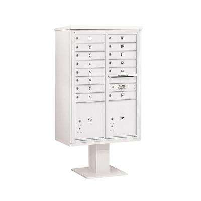 3400 Series 63-1/4 in. 13 Door High Unit White 4C Pedestal Mailbox with 14 MB1 Doors/2 PL5
