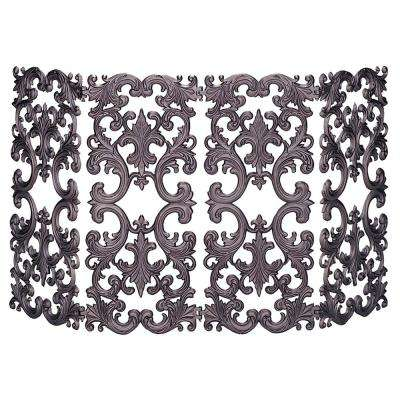 4 Panel Bronze Cast Aluminum Fireplace Screen
