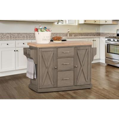 Brigham Gray Kitchen Island with Natural Wood Top