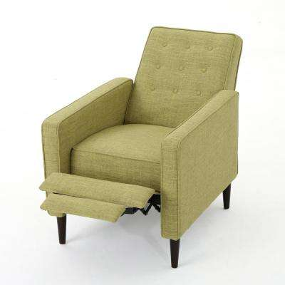 Muted Green Button Back Fabric Recliner