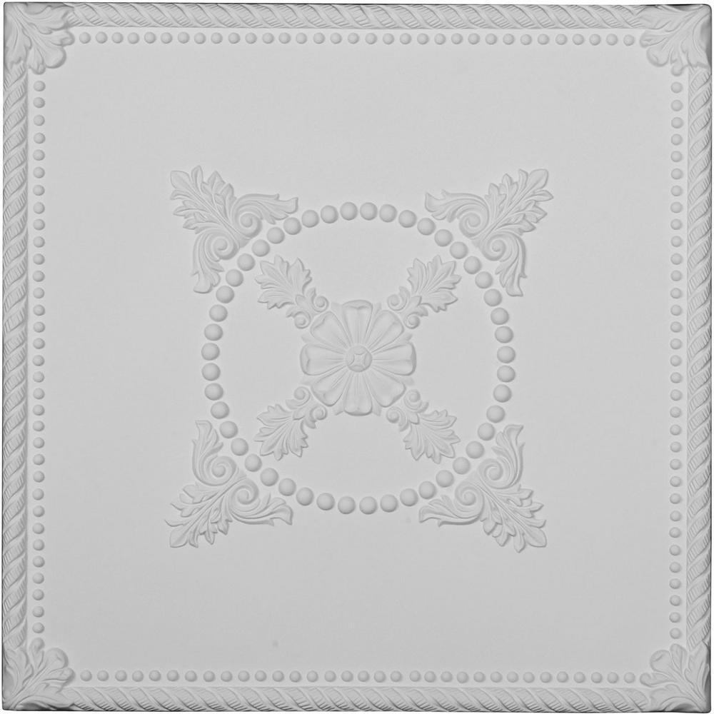 Alexandria 2 ft. x 2 ft. Glue Up Polyurethane Ceiling Tile in White
