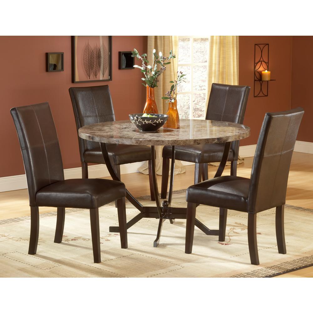 Hilale Furniture Monaco 5 Piece Matte Espresso Dining Set 4142dtbc The Home Depot