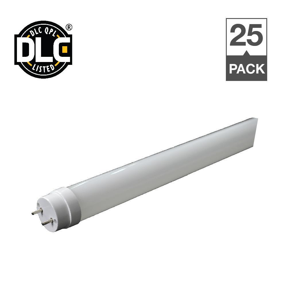 18-Watt Equivalent Cool White 5000K 4 ft. T8 Linear LED Light Bulb (25-Pack)
