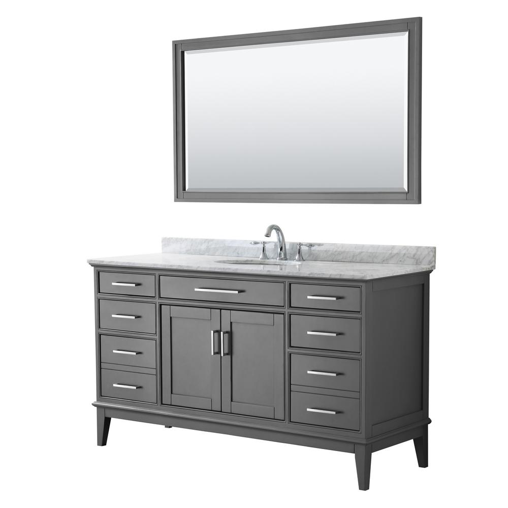Wyndham Collection Margate 60 in. Bath Vanity in Dark Gray with Marble Vanity Top in White Carrara with White Basin and 56 in. Mirror