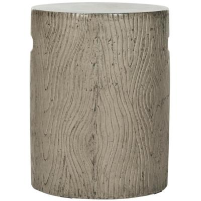 Trunk Dark Gray Round Stone Indoor/Outdoor Accent Table