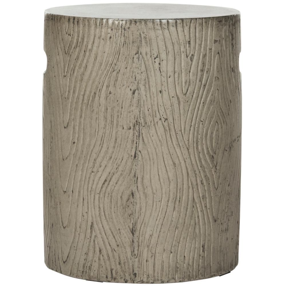 Trunk Dark Gray Round Stone Indoor/Outdoor Accent Table