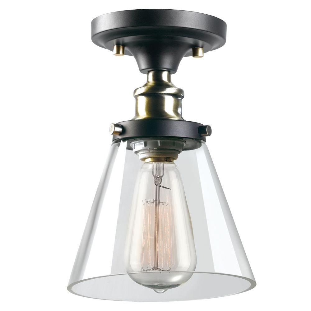 Jackson 1-Light Antique Brass and Brown Flush Mount