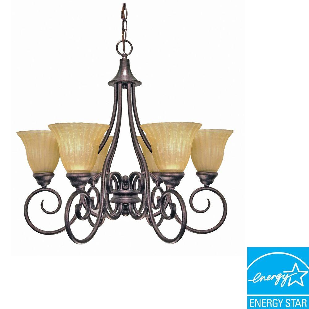 Moulan 6-Light Polished Chrome Chandelier with Champagne Linen Glass Shade(Bulbs