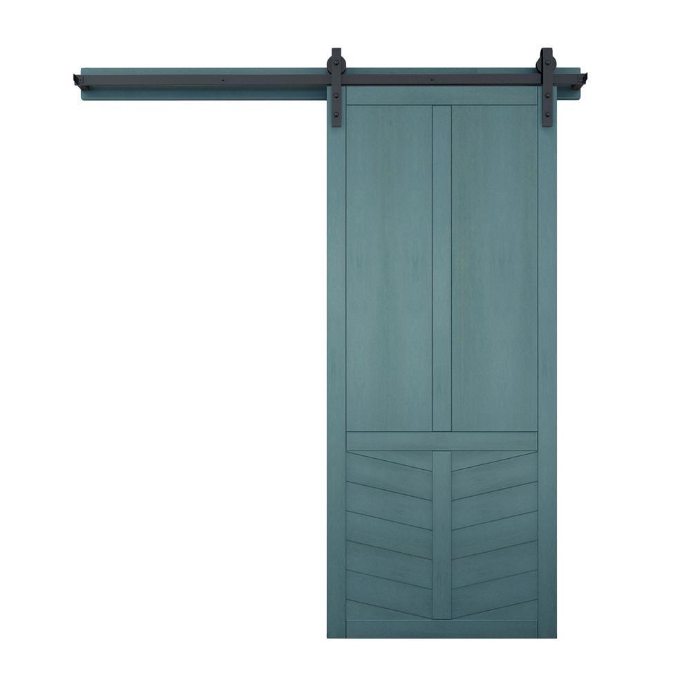36 in. x 84 in. The Robinhood Caribbean Wood Barn Door with Sliding Door Hardware Kit