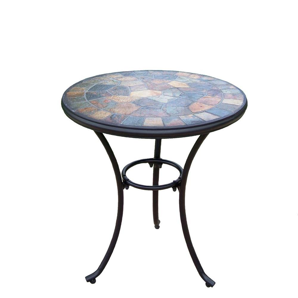 Outdoor mosaic accent table oakland living stone art 24 in for Affordable furniture grants pass oregon